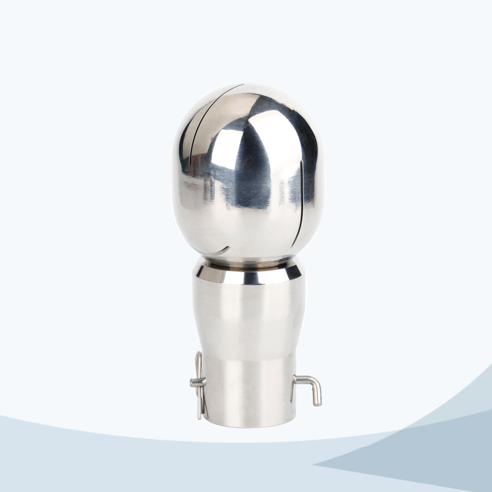 Sanitary pin connection rotary oval cleaning ball