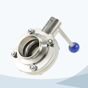 stainless steel food grade round pull handle welded butterfly valve