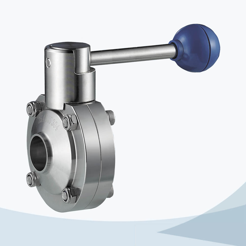 stainless steel food processing manual type threading 3 way butterfly valve