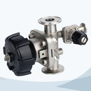stainless steel sanitary grade manual type clamped diaphragm valve with drain