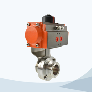 stainless steel hygienic grade pneumatic clamped butterfly valve