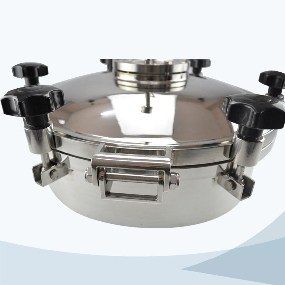stainless steel hygienic round pressure manhole with sight glass