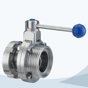 stainless steel sanitary grade manual type round handle union-male butterfly valve