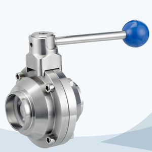 stainless steel sanitary round handle welded butterfly type ball valve