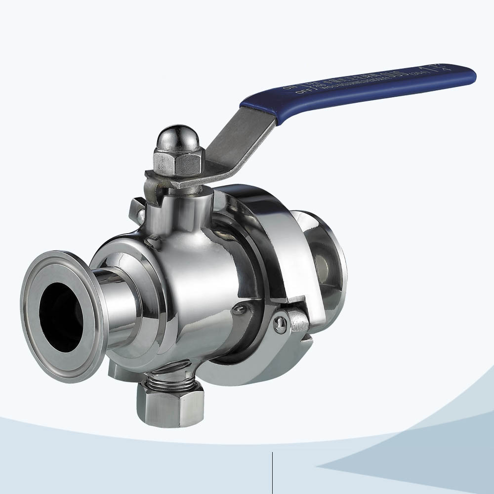 stainless steel hygienic grade manual type middle-clamp non retention ball valve