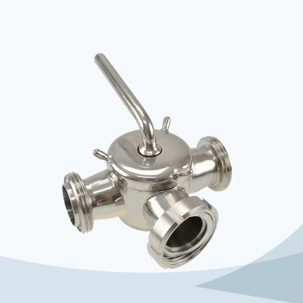 stainless steel sanitary grade 3 way union connection plug valve